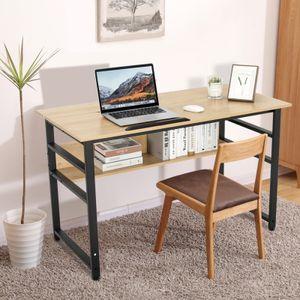 Schreibtisch mit verstellbarer Tischplatte Bürotisch Zeichentisch Comoputertisch Schwarz und Braun
