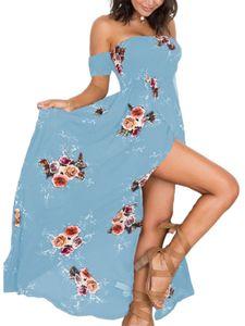 Langes Kleid für Frauen am Strand Strandkleid schulterfreies langes Kleid,Farbe: Blau,Größe:S