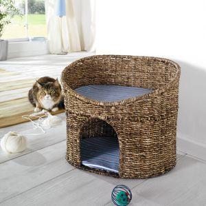 Katzenhöhle mit Kissen, Maisstroh, Katzenkorb, Katzenbett, Kratzkorb, Kratzbaum
