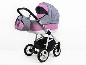 Kinderwagen Alu Way,3 in 1 -Set Wanne Buggy Babyschale Autositz mit Zubehör Pink