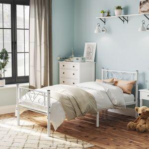VASAGLE Bettgestell Einzelbett Metallbett mit Lattenrost Bettrahmen Klassisches Bett für kleine Räume  weiß RMB061W01