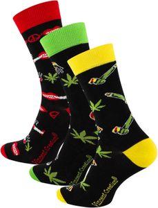 "Vincent Creation® Lustige ""Rasta Weed"" Socken 3 Paar Bunt 36-40"