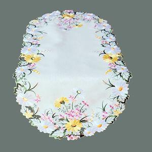 Tischdecke Blume Stickerei 40*90 cm Tischläufer Frühling Mitteldecke weiß bunt