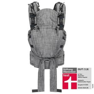 Hoppediz® Nabaca Modultrage Basic Set mit Schulter- und Hüftgurt sowie S- und M-Sitzpanel, Design: Popeline Denim schwarz, mit Aufbewahrungsbeutel und bebilderter Anleitung