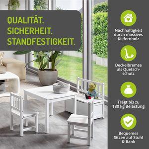 BOMI® Kindertisch mit 2 Stühle mit integrierter Spielzeugkiste | Kindertruhenbank aus Kiefer Massiv Holz für Kleinkinder, Mädchen und Jungen Weiß