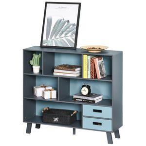 HOMCOM Bücherregal, Standregal , Aufbewahrungregal, Bücherschrank mit 2 Schubladen, MDF, Blau, 105 x 30 x 96 cm