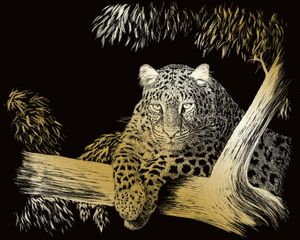 "Kratzbild ""Gepard"", Gold, 20 x 25 cm"