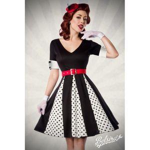 Vintage Retro Godet Kleid mit Gürtel in weiß/schwarz Größe 2XL = 44