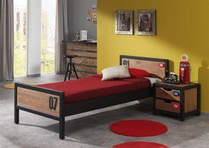 Vipack Set Alex best. aus Nachtkonsole, Einzelbett 90x200 cm - Farbe: Braun/Grau; AXCO12