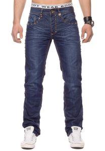 Herren Jeans Hose Nieten Stone Washed H1330, Farben:Dunkelblau, Größe Jeans:32W