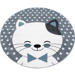 Kinderteppich Kinderzimmer Babyzimmer Kurzflor Katze Lächeln Grau Blau Meliert, Grösse:160 cm Rund