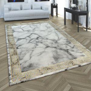 Teppich Wohnzimmer Kurzflor Marmor Muster Modern 3D Bordüre Grau Gold, Grösse:200x290 cm