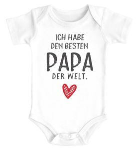 Baby Body mit Spruch ich habe den besten Papa der Welt Geschenk Geburtstag Baumwolle Jungen & Mädchen MoonWorks® weiß 0-3 Monate