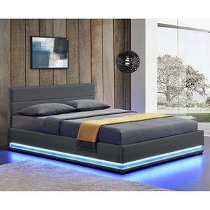 Juskys Polsterbett Toulouse 140x200 cm – Bett mit Lattenrost, Kopfteil, LED-Leiste & Stauraum – Modernes Bettgestell mit Kunstlederbezug in Grau
