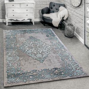 Designer Teppich Modern Wohnzimmer Teppiche 3D Barock Muster In Grau Türkis Creme, Grösse:160x230 cm