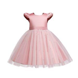Mädchen Kleider Baby kurzärmliges Prinzessin Kleid Festlich Kleid Hochzeit Partykleid Festzug Babybekleidung Mode Tutu Kleider, Rosa, 90cm