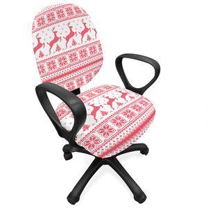 ABAKUHAUS nordisch Bürostuhl Schonbezug, Winterzeit Rentiere, dekorative Schutzhülle aus Stretchgewebe, Coral Weiß