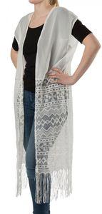 styleBREAKER lange leichte Sommer Weste im Ethno Style mit Armauschnitten, Fransen und Spitze, Damen 08010020, Farbe:Weiß