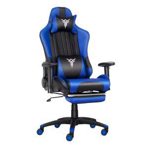 Massage Racing Gaming Stuhl Bürostuhl Chefsessel Schreibtischstuhl mit Kopfstützen höhenverstellbarer Computerstuhl (Schwarz & Blau)