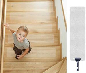 Antirutschstreifen Treppe, Antirutschstreifen für Treppen Transparent Rutsch Streifen Rutschschutz Treppenstufen Matten, 15er Pack, 10cm x 60cm