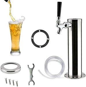 Bierspender Edelstahl Silber Fassbierturm  Homebrew Kegerator Draft Beer Tower (1 Wasserhahn)