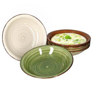 6er Set Nature Suppenteller Landhausstil Ø 20cm Essteller tief Rustikal grau braun grün Steingut
