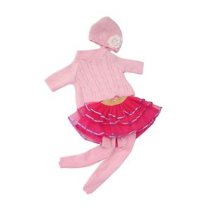 4pcs/ Set Puppen Winter Bekleidung Satz für 18\'\'  Puppe - Pullover + Spitzen Tüllrock + Hut + Strumpfhosen