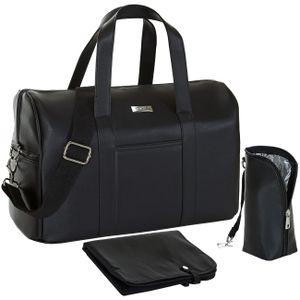 Wickeltasche mit Wickelunterlage Isothermo Flaschenwärmer Faux Leder Reisetasche schwarz
