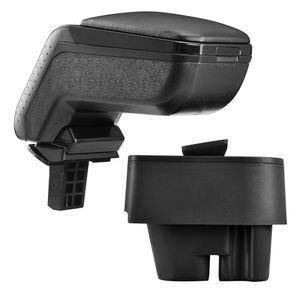 [pro.tec] Mittelarmlehne Passgenau für Peugeot 207 207 SW 207 CC ab Bj. 2006 Armauflage mit Staufach gepolstert Kunst Leder schwarz