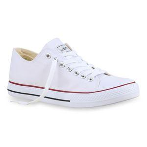 Mytrendshoe Herren Sneakers Kult Sportschuhe Schnürer Stoffschuhe 892086, Farbe: Weiß Rotstreifen Lucky, Größe: 44