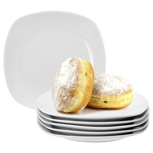 6er Set Kuchenteller Lilli 190x190mm Frühstücksteller Dessertteller Servierteller Porzellan weiß