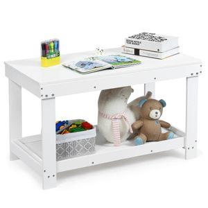 COSTWAY Kinder Spieltisch mit Ablage und verstecktem Staufach, Bausteintisch aus Massivholz, Kinder Schreibtisch und Zeichentisch, Kindertisch zum Zeichnen, Lesen, Basteln (Weiß)