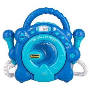 Idena 40284 - CD Player Sing Along für Kinder, tragbar und batteriebetrieben, mit LED Display, Anti-Schock und zwei Mikrofonen für Karaoke, hellblau