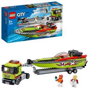 LEGO 60254 City Rennboot-Transporter LKW-Spielzeug mit Anhänger und Schnellboot, schwimmendes Badespielzeug für Kinder von 5 bis 7 Jahren
