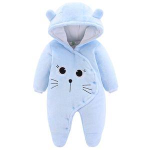 Baby Winter Fleece Overall Mit Kapuze Mädchen Jungen Schneeanzüge Warm Strampler Outfits Blau 0-3 Monate (59cm)