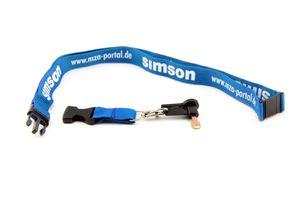Schlüsselband mit Zündschlüssel - Blau / Weiß - für Simson S51 Schwalbe Star DUO