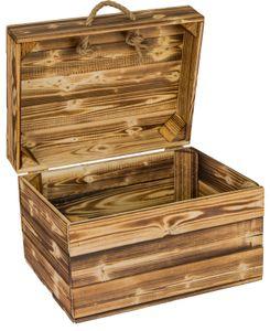 Holzkiste Erika geflammt mit Deckel und Hanfkordeln Obstkiste Geschenkekiste Holztruhe 40 x 30 x 27