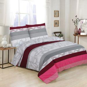 4 Teilig Bettwäsche-Set 155x220 cm Baumwolle- Renforce Reißverschluss, Grau Weiß , Geometrisch