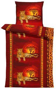 Leoparden Bettwäsche 135x200 cm Leopard Afrika Safari Tier rot orange Microfaser