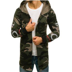 Herren Camouflage Hooded Trenchcoat Jacke Strickjacke Langarm Outwear Bluse Größe:5XL,Farbe:Türkis