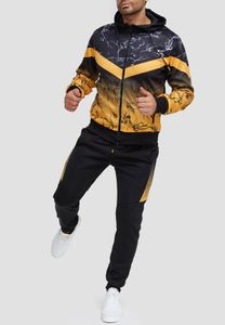 Herren Trainingsanzug Fitness Jogginganzug Basic Casual Streetwear Sportanzug Gym Set Jacke & Hose, Farben:Gelb, Größe Hosen:XL