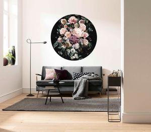 """Komar Vlies Fototapete rund und selbstklebend """"Enchanted Flowers"""" - Größe: 125 x 125 cm (Breite x Höhe) - 1 Stück"""