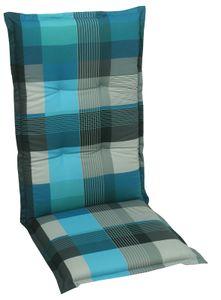 GO-DE Textil, Sesselauflage hoch, Karo petrol grau, 20300-01