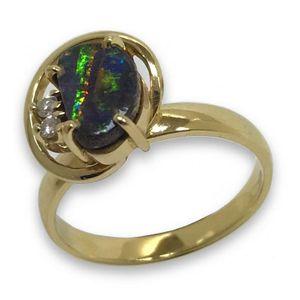 Ring 55 - Gold 585 - Opal - bunter Stein