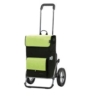 Original Andersen Royal Shopper mit Metallspeichenrad 25 cm und 45 Liter Einkaufstasche Asta schwarz/grün mit Kühlfach, Stahlgestell zusammenklappbar