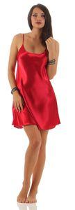 Damen kurzes Negligé Nachtkleid Nachthemd Satin, Rot L