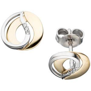 JOBO Ohrstecker 585 Gold Gelbgold Weißgold bicolor 6 Diamanten Brillanten Ohrringe