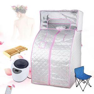 2L Tragbare Dampfsauna Saunazelt Heimsauna Mobile Sitzsauna Saunakabine Wärmekabine Wasserdicht mit Fußmassagegerät(Silberner Steamer +Fernbedienung + Zelt mit Kopfabdeckung)