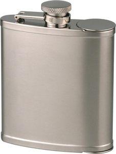 Hauser Rauchwaren Flachmann Edelstahl satiniert mit 2 Bechern 6 oz / 180 ml  Silber/Mattvernickelt