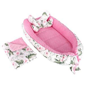 Baby Nestchen + Kissen und Decke Minky 3tlg Kokon Nest Babynest Reisebett Wickelauflage Babydecke Kuschelnest XXL 110x60 cm Rosa/Rosen